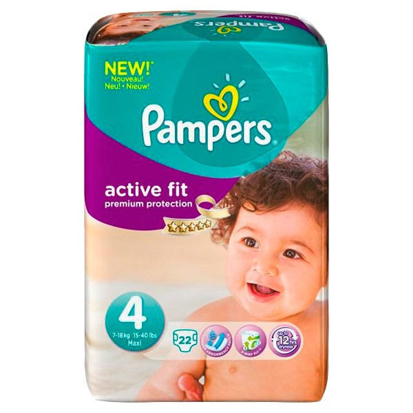 prix de pampers active fit 22 couches taille 4 7 18kg. Black Bedroom Furniture Sets. Home Design Ideas