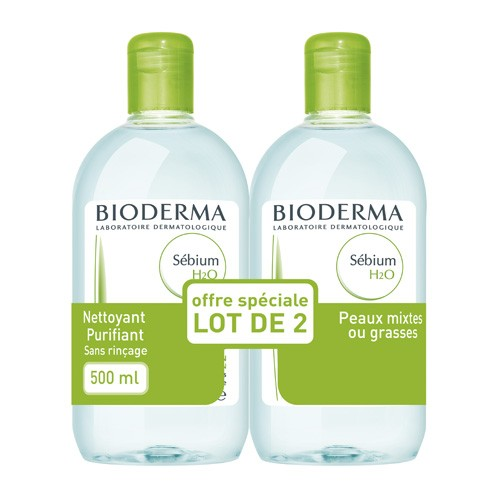 prix de bioderma sebium h20 sol micellaire sans savon nettoyante peau grasse 2fl 500ml. Black Bedroom Furniture Sets. Home Design Ideas