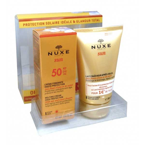 prix de nuxe solaires cr me fondante spf50 50ml et apr s soleil 100ml. Black Bedroom Furniture Sets. Home Design Ideas